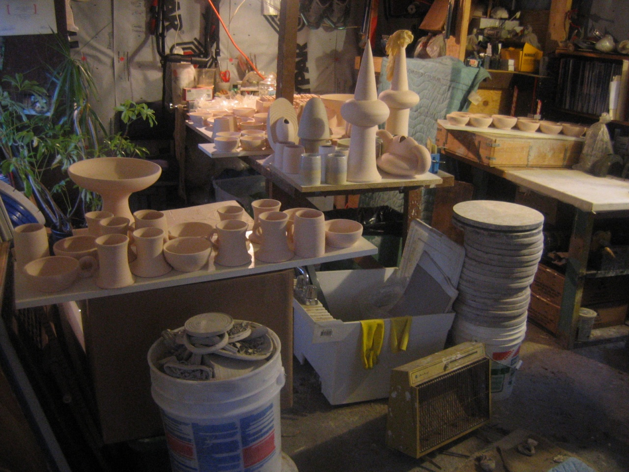 Bisqued pots ready to glaze